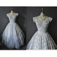 50's Prom Dress // Vintage 1950's Tulle Lace Full Party Prom Wedding Dress XS AS-IS