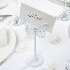 White/Diamante butterfly place card holder