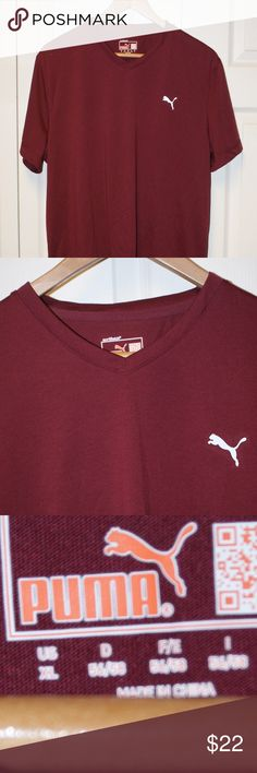 *SALE* Puma v-neck t-shirt XL...NWOT NWOT Puma v-neck t-shirt XL....NO FLAWS....burgundy/maroon in color....smoke/pet free....shipping within 1 business day....please ask any questions. Puma Shirts Tees - Short Sleeve
