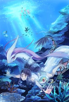 A trainer underwater with Snivy and Milotic
