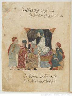 Folio 21 Recto: maqama 08. Abu Zayd and his son before the Kadi