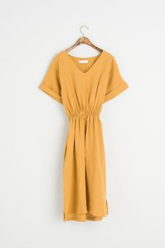 Olive V Neck Banding Waist Linen Dress, Yellow Indie Fashion, Unique Fashion, Fashion Outfits, Little Dresses, Blue Dresses, Cute Girl Outfits, Night Outfits, Yellow Dress, What To Wear