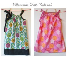 EXCELLENT pillowcase dress tutorial especially for the beginner. Two styles of finishing off the top - elastic and tie. {lbg studio}: Pillowcase Dress Tutorial - Dress A Girl Around the World Sew-A-Long