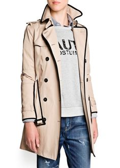 Contrast trimming double-breasted trench coat with epaulettes and tabs at neck and cuffs. Fall Wardrobe Essentials, Gamine Style, Cute Coats, Cool Style, My Style, Sweater Jacket, Trench Jacket, Autumn Winter Fashion, Fall Winter