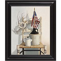 @Overstock.com.com - Cecile Baird 'Chair with Jug and Flag' Framed Art - Celebrate the spirit of the red, white, and blue with this wood-framed Americana art print. Featuring the American flag in a rustic indoor setting framed by a thick beveled wood frame, this piece is the perfect expression of patriotism.  http://www.overstock.com/Home-Garden/Cecile-Baird-Chair-with-Jug-and-Flag-Framed-Art/6011406/product.html?CID=214117 $58.99