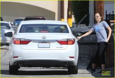 Minka Kelly hitching a ride with new beau Chris Evans in his white Lexus ES350