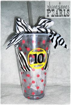 Zebra Softball Mom on Red Polka Dot Straw Cup by MalloryDeanne, $18.00