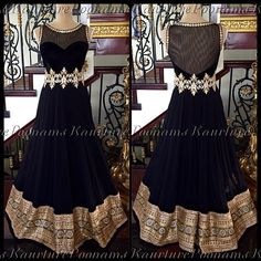 Outfit by Poonam's Kaurture - black georgette gown with velvet bust, handwork of zardozi and stones