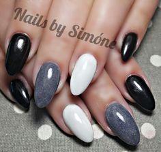 Black, Grey & White Almond Shape Acrylic Nails
