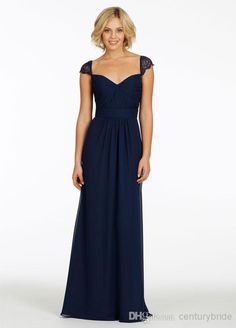 Wholesale Bridesmaid Dress - Buy 2014 Modest Spring Cheap Dark Navy Column Sweetheart Cap Sleeve Backless Lace Pleat Chiffon Floor Length Br...