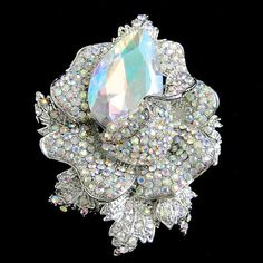 """Dazzling 2.75"""" Rose Flower Bud Brooch Pin Austrian Crystal Clear AB Silver Tone #Unbranded #Casual"""