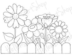 Fence Flowers 4 by HellensArt Pattern Coloring Pages, Flower Coloring Pages, Doodle Drawings, Doodle Art, Big Flowers, Draw Flowers, Flower Template, Stained Glass Patterns, Digital Stamps
