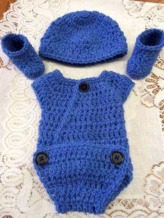 Handmade Crochet 4 pc Outfit for 14 - inch Doll/Preemie (up to 3 lbs) Blue Denim #Handmade #DressyEverydayHoliday