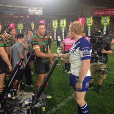 James Graham and Sam Burgess share a moment after the game #NRLGF