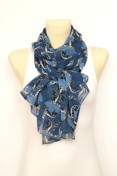 Blue Dog Printed Scarf - Women Fashion Accessories - Scarves - Animal Print Scarf - Unique Boho Scarf - Gift Ideas for her Mothers Day Gift