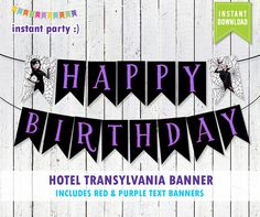Hotel Transylvania Happy Birthday Banner You by instantparty Third Birthday, 4th Birthday Parties, Happy Birthday Banners, Birthday Bash, Birthday Party Decorations, Birthday Ideas, Halloween Party Themes, Kids Party Themes, Halloween Birthday