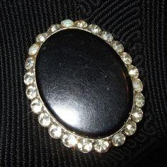 Glamorous Sparkling Vintage 50s 60s Large Diamante Black Polished Brooch by MondoTrashoVintage on Etsy