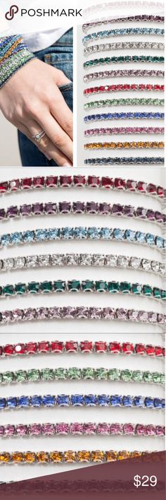 Swarovski crystal birthstone bracelets You'll love these stretch bracelets!  I've had similar ones that the prongs caught on everything.  These have a rounded prong so you can rub them against a sweater, lace, etc. and it won't snag!  Super sparkly genuine Swarovski crystals. Picture 2 is January through June, picture 3 is July through December. Last pic is April, the favorite one.  I wear mine every single day!  Still looks amazing after 2 years. Comes in pretty white bag. Contact me for…