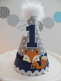 Lil Fox - Woodland Birthday Party Hat - Gray with White Polka Dot and Navy Blue- Personalized by SandysSpecialtyShop on Etsy https://www.etsy.com/listing/202486015/lil-fox-woodland-birthday-party-hat-gray