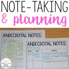 Guided Reading Note Taking and Planning