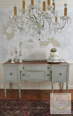A Color Washed Buffet tutorial. French Linen base, Country Grey Wash and White Wax. All with home made chalk paints.