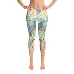 5e527e2812a91 Mermaid Abstract Capri Yoga Leggings Capri legging art abstract leggings  workout pants CrossFit legg
