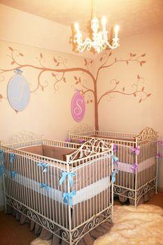twinners!  super cute twin nursery featuring bratt decor's casablanca cribs in white.  design by jack & Jill