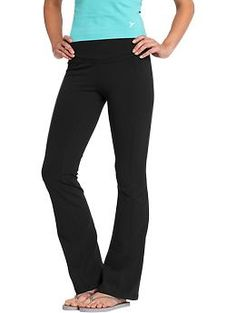 Womens Boot-Cut Yoga Pants - With a sassy boot-cut silhouette and fashion-forward forays into color and pattern, these yoga pants stretch toward stylish new territory! An elastic waistband and soft, stretch jersey still keeps you poised with every pose.