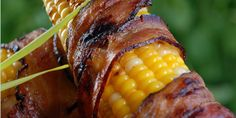 Grilled Corn On The Cob Wrapped In Bacon - BBQ @ 350°F. Place a drip pan under the barbeque grates. Oil grill to prevent sticking. Season the corn with S Wrap the bacon around the cob & secure with a toothpick.Place corn on grates over drip pan.Turn corn. Close BBQ lid & cook for another 2-3 minutes. Open lid and move the corn around to create even browning and crisping of the bacon.Do this for about 8 min until bacon is crisp & corn is cooked. Serve immediately.
