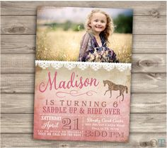 Horse Birthday Invitations Photo Rustic Lace Riding Picture JPEG Shabby Chic Country Cowgirl Theme Party girl Rustic Modern Download NV4004 by cardmint on Etsy https://www.etsy.com/listing/226142942/horse-birthday-invitations-photo-rustic