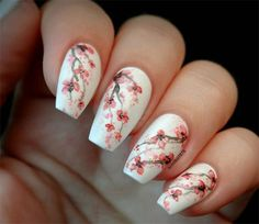 Cherry blossom is the national flower of Japan. Cherry blossom nail art design is one of the most cherished nail art designs for women. This special nail art is common among the Japanese women. Cherry blossoms are mainly pink, petals are light pink Nail Art Designs, Flower Nail Designs, Nail Designs Spring, Design Art, Design Ideas, Tulip Nails, Flower Nails, Spring Nail Art, Spring Nails