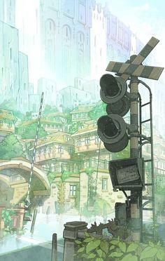 ✮ ANIME ART ✮ village. . .city. . .architecture. . .nature. . .trees. . .railway crossing. . .stop light. . .anime background. . .amazing detail. . .kawaii