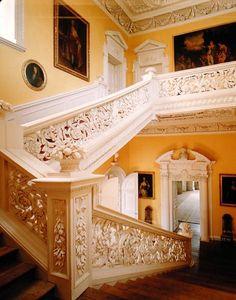Edward Pierce. The Great Staircase at Sudbury Hall (George Vernon, built 1660-1680). 1676-1677. Painted elm and oak woods. Sudbury Hall. Derbyshire, UK.