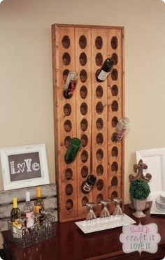 Build your own Pottery Barn inspired wine rack with this DIY tutorial! #DIY #winerack #PotteryBarn #decorknockoff #desinghack