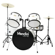 Mendini MDS80-WH Complete Full Size Senior 5-Piece 6-Ply Birch Wood White Drum Set with Cymbals, Drumsticks and Throne by Mendini. $285.57. Mendini by Cecilio MDS80 full size 5-piece senior drum set is made of 100% 6-ply birch wood from South of China. The wood are more harder and excellent to work with. Drummers love its outstanding ability to carry the middle to low tones, as well as sharp tone, but they have solid response in the upper register. Assembly Required.