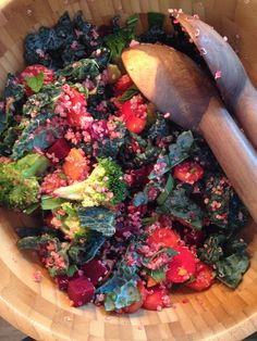 Kale from our vegetable garden! With broccoli, carrots, beets and quinoa.