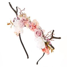 Look like a darling deer with this pretty pink & white floral Deer Antler Flower Crown Headband. Flower crown Deer antler look Thin band Deer Antlers Headband, Cat Ears Headband, Flower Crown Headband, Ear Headbands, Flower Crowns, Teen Jewelry, Fashion Jewelry, Girl Deer Costume, Couple Halloween Costumes For Adults