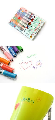 Uni-ball POSCA markers write brilliantly on all types of surfaces - paper, cardboard, metal, wood, glass and plastic - yet won't bleed through paper. This unique sparkle colored set is great for drawing signs, decorating photos, and writing on all kinds of surfaces.