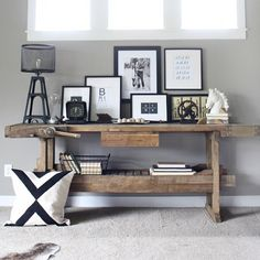 Turn an old Carpenter's Bench into a beautiful rustic modern console display.