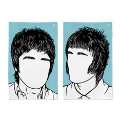 'Noel & Liam Gallagher' Oasis Tea Towel Set £17 by Bold & Noble