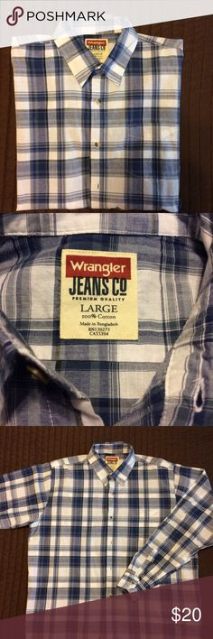 Men's long sleeve button down shirt Wrangler Jeans Co long sleeve button down plaid shirt. (Blues & hint of black on white) Perfect condition!  From a pet & smoke free home. Wrangler Jean Co Shirts Casual Button Down Shirts