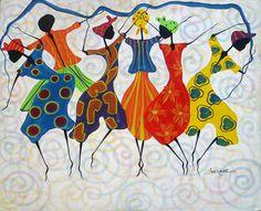 Colorful Haitian Dancers- Canvas Painting - Art of Haiti - Primative Caribbean Art, Canvas Painting - Haitian Art - by TropicAccents