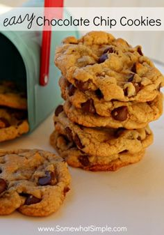 These easy chocolate chip cookies are sure to be a crowd pleaser! Recipe from SomewhatSimple.com