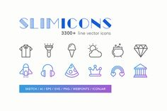 Slimicons - 3300 Line Vector Icons by @Graphicsauthor