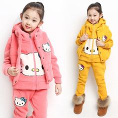 42.83$  Buy here - http://alik3u.worldwells.pw/go.php?t=32216298975 - Retail New Baby Winter Suit Cotton-padded Clothes Girl's Hello Kitty Clothing Sets Thick Velvet Waistcoat&Hoodies&Pants 3pcs 42.83$
