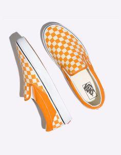 186415bb63 VANS Checkerboard Classic Slip-On Dark Cheddar Shoes - ORANG - 334197700