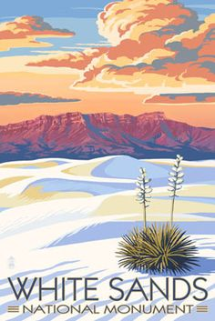 White Sands National Monument, New Mexico - Sunset Scene - Lantern Press Artwork Giclee Art Print, Gallery Framed, Espresso Wood), Multi National Park Posters, Us National Parks, Voyage Usa, White Sands National Monument, Monument National, Retro Poster, Photo Vintage, Kunst Poster, Land Of Enchantment
