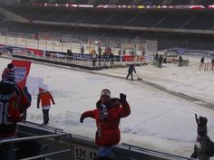 At the outdoor game at soldier field.