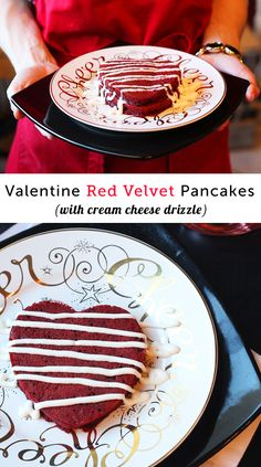 Red Velvet pancakes with cream cheese frosting - will definitely be starting my Valentine's Day off with these.
