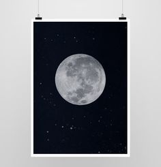 Full Moon Print,Dark Blue , Starry Night , Navy, Stars , Moon , Full Moon , Moon Print door MILKANDPAPER op Etsy https://www.etsy.com/nl/listing/113654386/full-moon-printdark-blue-starry-night